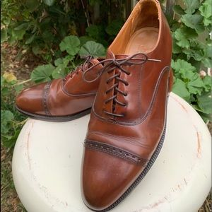 BASS 0043 Brown Leather Cap Toe Oxfords Sz 11D